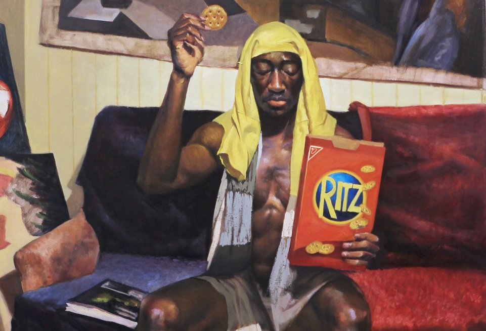 Crackers and the Eucharist (detail), Oil on canvas, 52 x 44 in., by Eric Telfort